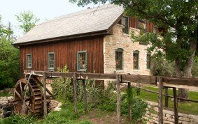 Gristmill with Overshot Water Wheel