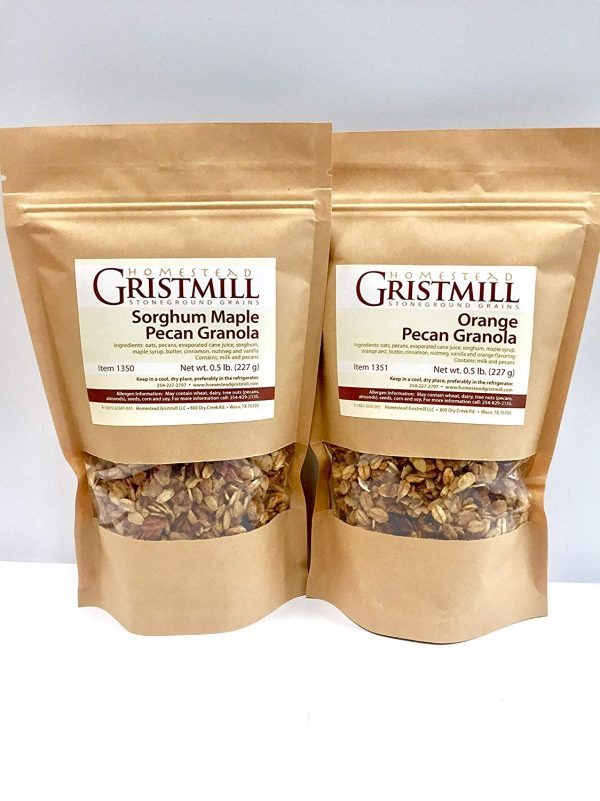 Orange Pecan and Sorghum Maple Pecan granola